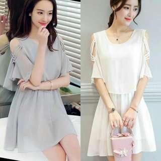 🍃Chiffon Formal Layer Cold Shoulder Dress