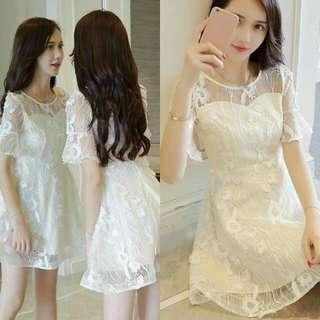 🍃White Lace Mesh Formal Dress
