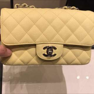 3f5746f4d911 Authentic Chanel Bag mini flap bag limited colour in pastel yellow
