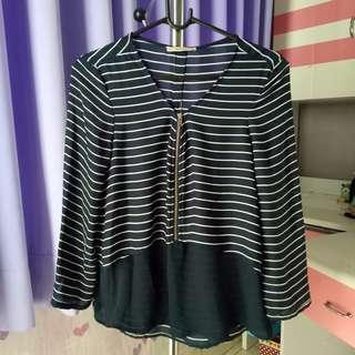 Bershka navy stripes tee