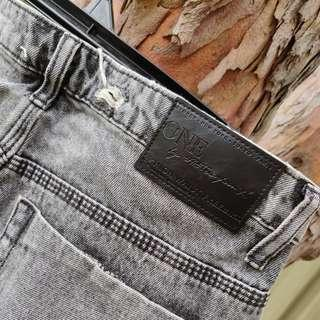 ONETEASPOON Freebird Jeans High Waisted Grey Stripe Size 11 BNWT