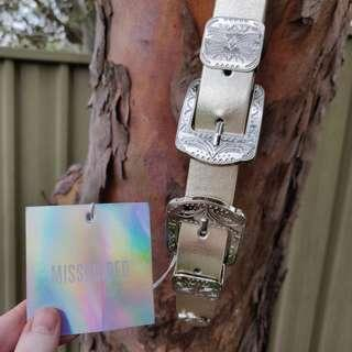 MISSGUIDED Gold Waist Belt Double Buckle Size S/M BNWT