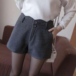 [New]韓版女裝高腰毛絨短褲(深灰) High Waisted Shorts