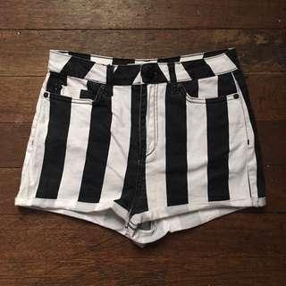 Topshop Stripes High Waist Shorts