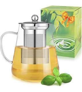 (E560) PluieSoleil Teapots 550ML Glass Teapot with Heat Resistant Stainless Steel Infuser Microwave and Stovetop Safe
