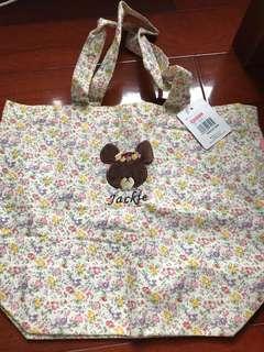 Jackie the bear's school tote bag