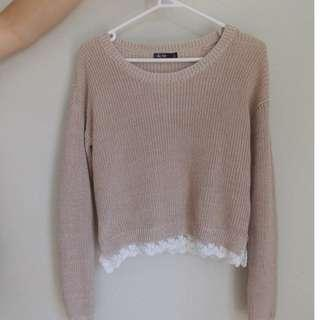 Creme Knit Sweater with Lace Detailing