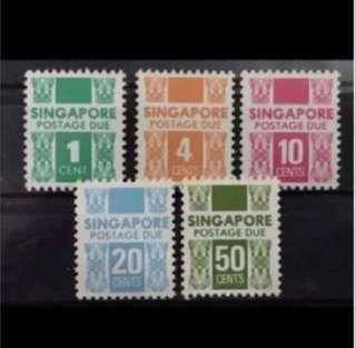 Singapore 1980s postage due Set 5v MNH