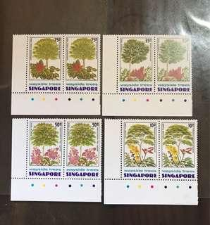 Singapore stamps mint 1976 Trees Set in pair MNH (toning gum)