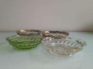 Flowers glass cut plate diameter 13.5cm perfect 4pcs $28