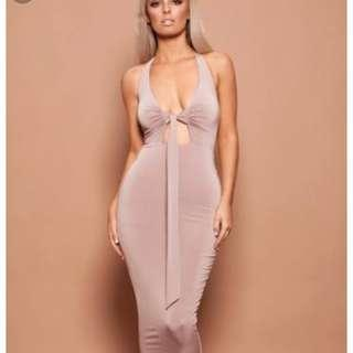 Nookie halter multi way midi formal taupe dusty pink colour 6 xs