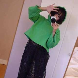 🚚 全新韓貨賣家La Mocha~綠色短版帽Tee