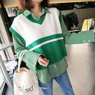 🚚 全新韓貨賣家La Mocha~綠色短版v領寬肩雙色背心