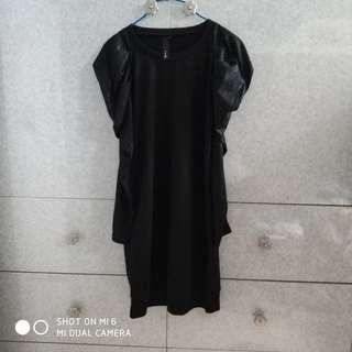 黑色泡泡長袖連身裙