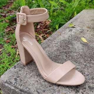 SPURR Nude Block Heels Ankle Strap Size 6
