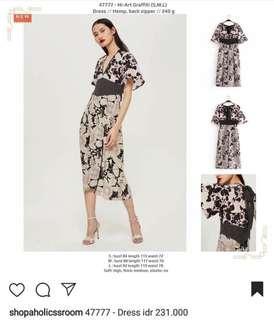 New Jual Rugi Floral Flower Long Pink Black Dress / Gaun Panjang Hitam Bunga Pink
