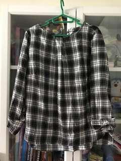 日本黑白格蝴蝶袖上衣