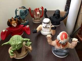Authentic Vintage 1997 LUCASFILM LTD Star Wars 7 Figurines Set