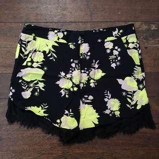 Topshop Safari Lace Hem Shorts