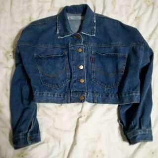 🚚 <知心>LULUS深藍牛仔短版鈕扣外套
