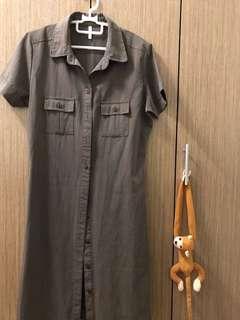 Short Sleeve Long Brown Shirt