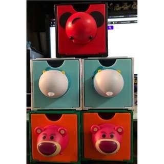 陳列品 7-11 迪士尼 Disney Tsum Tsum 百變組合BOX 特別版lotso頭 唐老鴨尾 米奇尾 全要HKD120