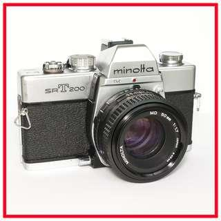Minolta SRT 200 35mm Film Camera + MD 50mm F1.7 Lens