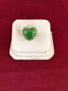 天然翡翠A貨18K金鑲嵌戒指