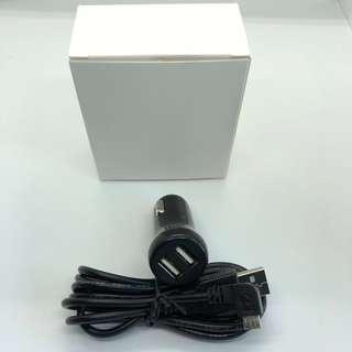 BN dual USB car charger with micro USB cable
