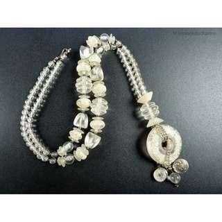 Vintage 1980s Clear Frosted Cream Beaded Necklace, nk422