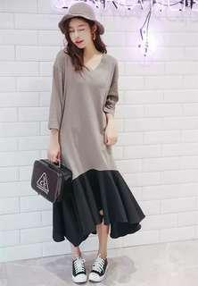 Korea dress 新款秋季韓版長款衣裙七分袖上衣潮,款式非常百搭one piece dress: M & L size