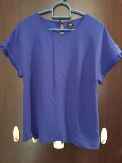 Gg5 electric blue top with ruffles sleeve