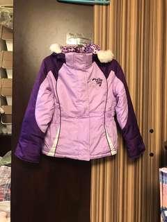 Size5-6Y 毛毛 夾棉 保暖冬天 豹紋紫色 帽 外套 大褸 落雪