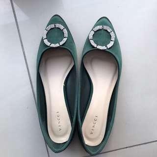 Vincci Green Satin Embellished Flats