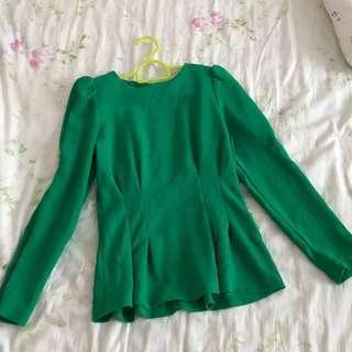 Green Peplum Long-Sleeves Top