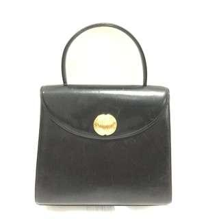 Givenchy Black Leather and Gold Emblem Hand Bag