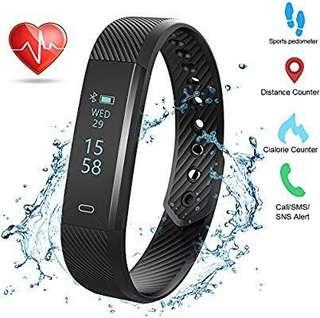 [E553] Weton Fitness Activity Tracker with Heart Rate Monitor Bluetooth 4.0 Waterproof Smart Bracelet Wristband Pedometer with Sleep Monitor Calorie Counter Step Tracker for Android and iPhone