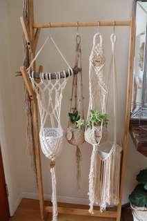 Macrame knotted plant Hangers and kokedama