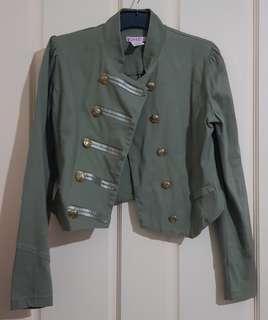 Khaki Green Military Crop Jacket Sz S