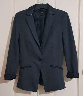 Grey Blazer Leather Collar Sz 6