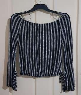 Stripe Off the Shoulder Top Sz M