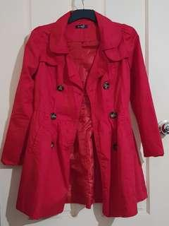 Red Trench Coat Sz 8