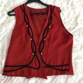 Red Vintage Embroidered Vest Jacket