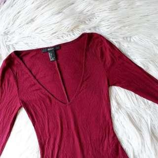Forever 21 Ribbed Bodysuit in Red