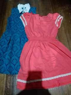 Blue Green Dress With Collar and Pink Dress
