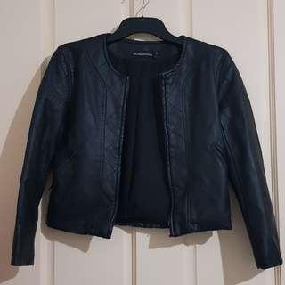 Black Leather Jacket Sz XS