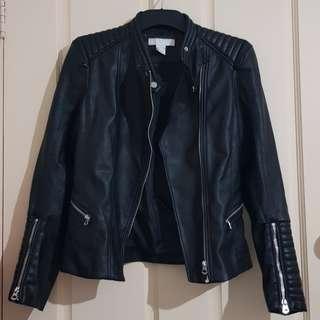 Black Leather Biker Jacket Sz4
