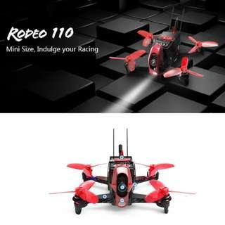 WALKERA RODEO 110 Racing Drone with [kit + 1 x Receiver/main controller + 1 x 600TVL Camera + 4 x Brushless Motor + 4 x Brushless ESC + 8 x Propellers + 1 x Battery + 1 x Charger + 1 x DEVO 7 Remote Control MODE 2. Nett price. Code: RODEO110-D7-M2
