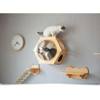 Cat Wall Condo capsule tree climb kitten scratch post board, not cage carrier bed food