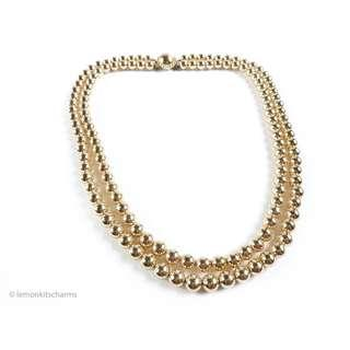 Vintage Japan 1950s Goldtone Beaded Necklace, nk417